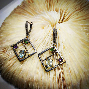 Topaz and Chrome Diopside (Diamond Shape) Earrings