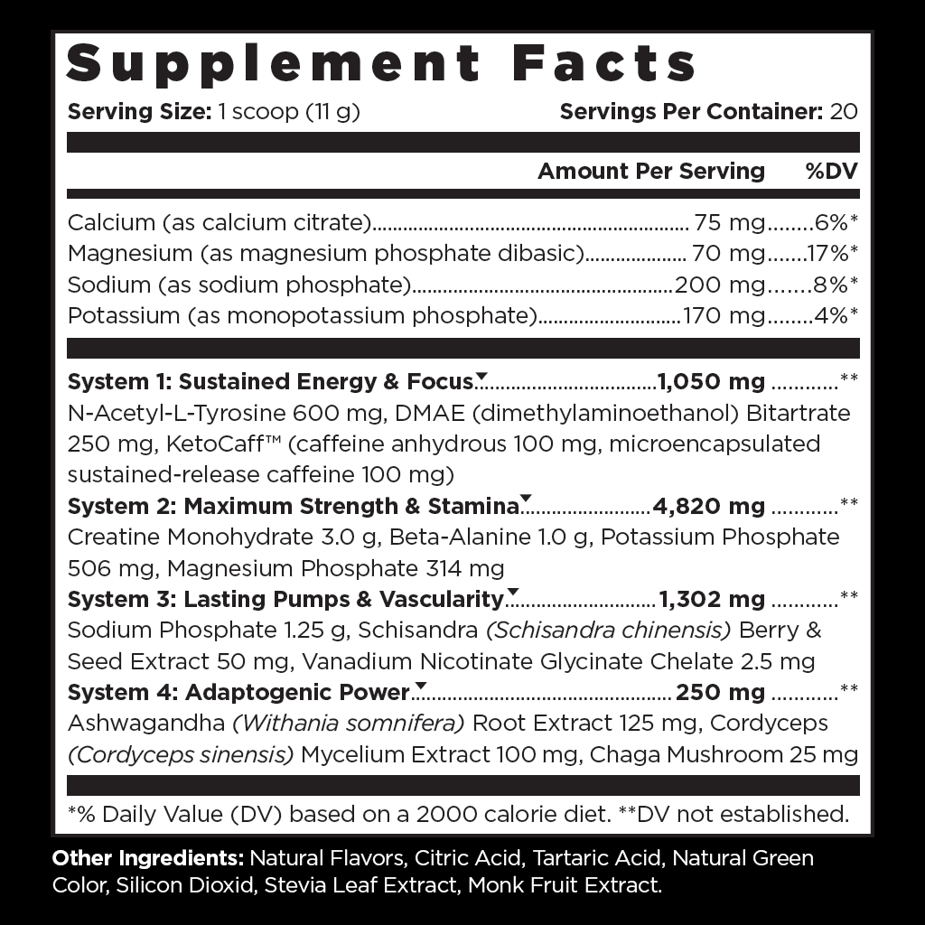 Real Keto™ Pre-Workout Supplement Facts