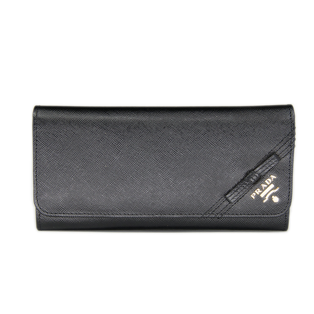 Prada Continental Saffiano Leather Wallet Corner Bow 1M1132 - Black