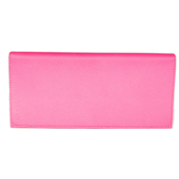 Prada Long Saffiano Leather Passport Holder Wallet 1M1342 Hot Pink (Peonia)