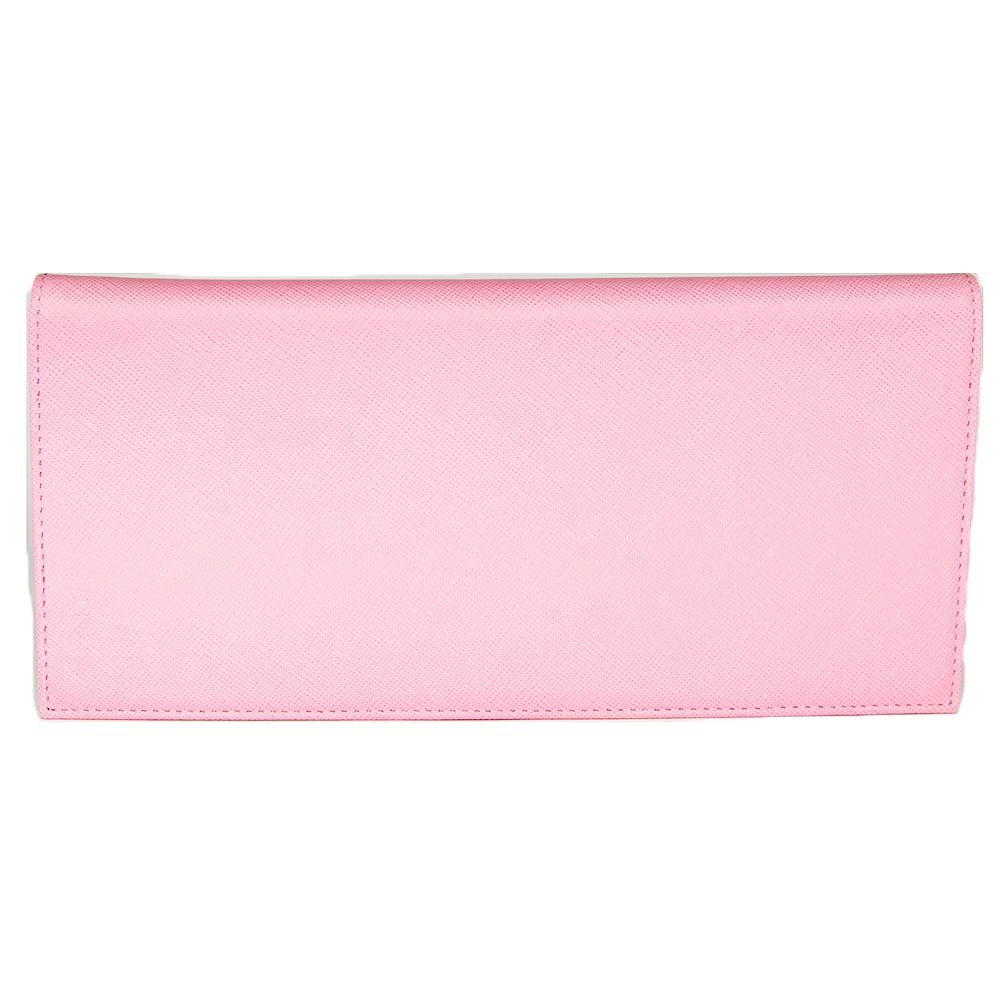 Prada Long Saffiano Leather Passport Holder Wallet 1M1342 Cherry Pink (Begonia)