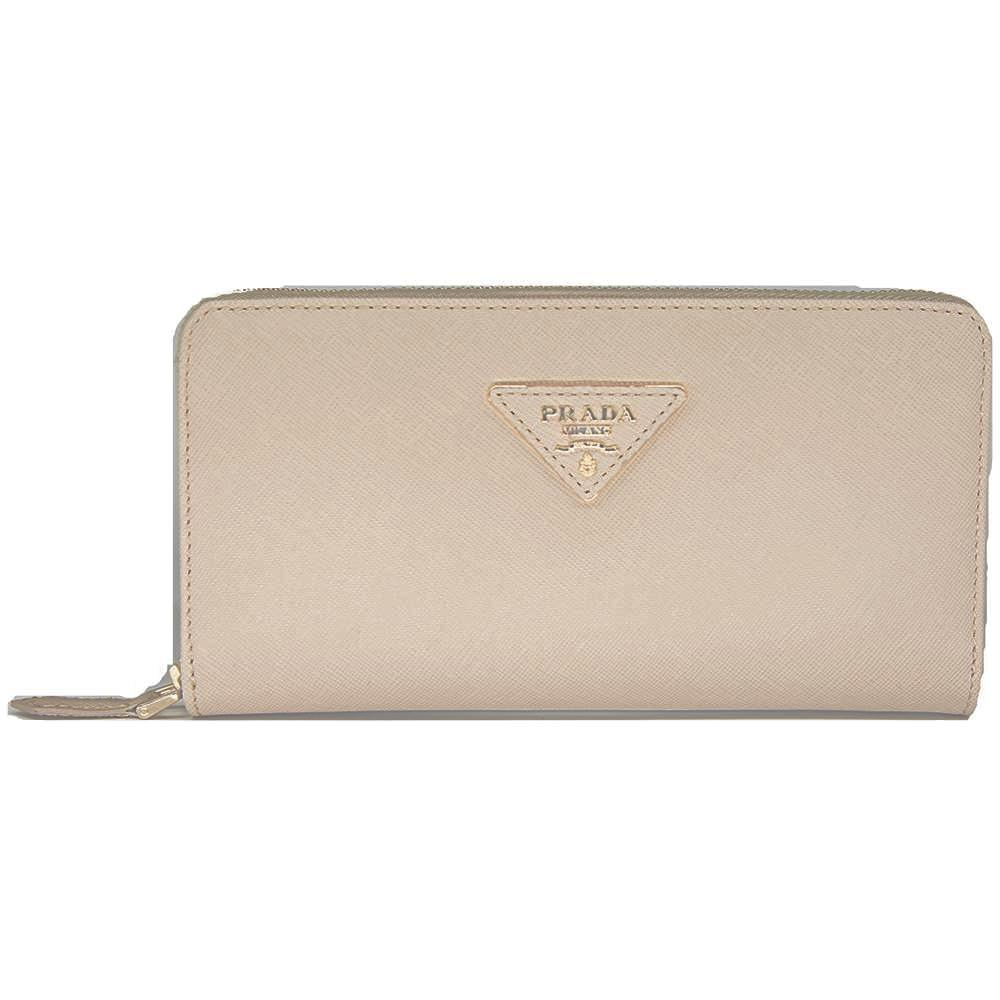 Prada Saffiano Leather Metallic Gold Organizer Wallet 1M0506 Beige