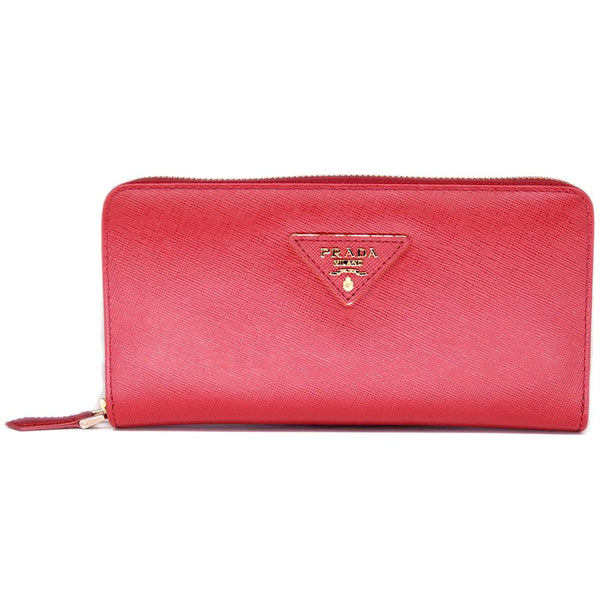 Prada Saffiano Leather Metallic Gold Organizer Wallet 1M0506 Red