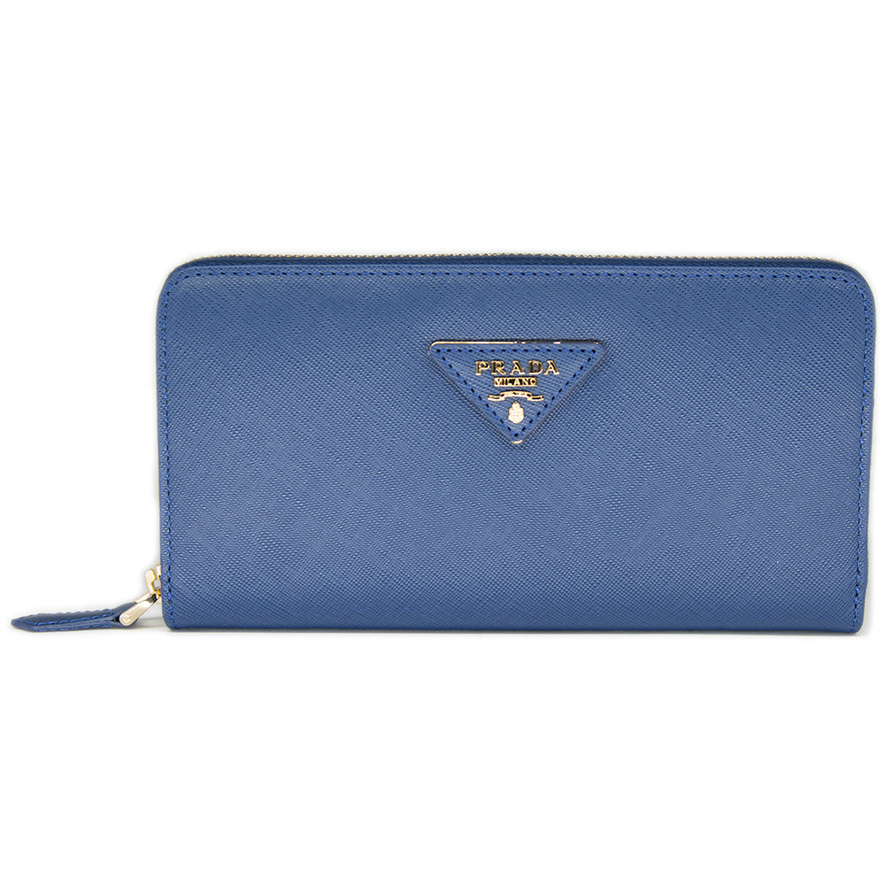 Prada Saffiano Leather Metallic Gold Organizer Wallet 1M0506 Blue (BALTICO)