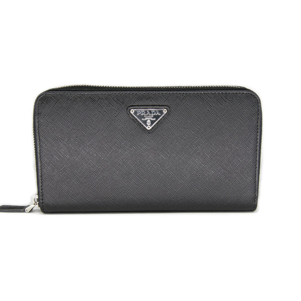Prada BLACK Zip Around Saffiano Wallet M0506A - Black