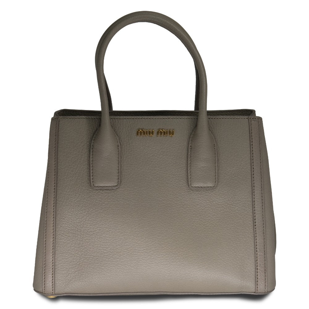 Miu Miu Vitello Daino Leather Handbag Gray