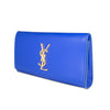 SAINT LAURENT CLASSIC MONOGRAM CLUTCH IN ROYAL BLUE LEATHER