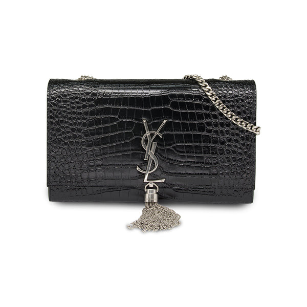 Saint Laurent Croc Embossed Kate with Tassel Shoulder Bag- Black