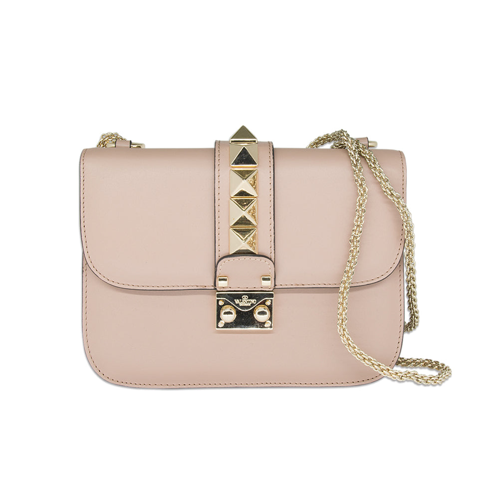Valentino Mini Glam Lock Leather Chain Shoulder Bag Pink