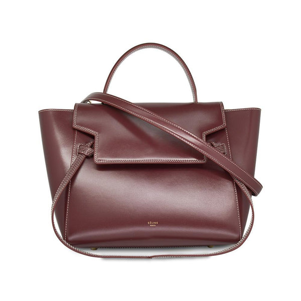 Céline Belt Medium Tote Bag In Burgundy Calf Leather