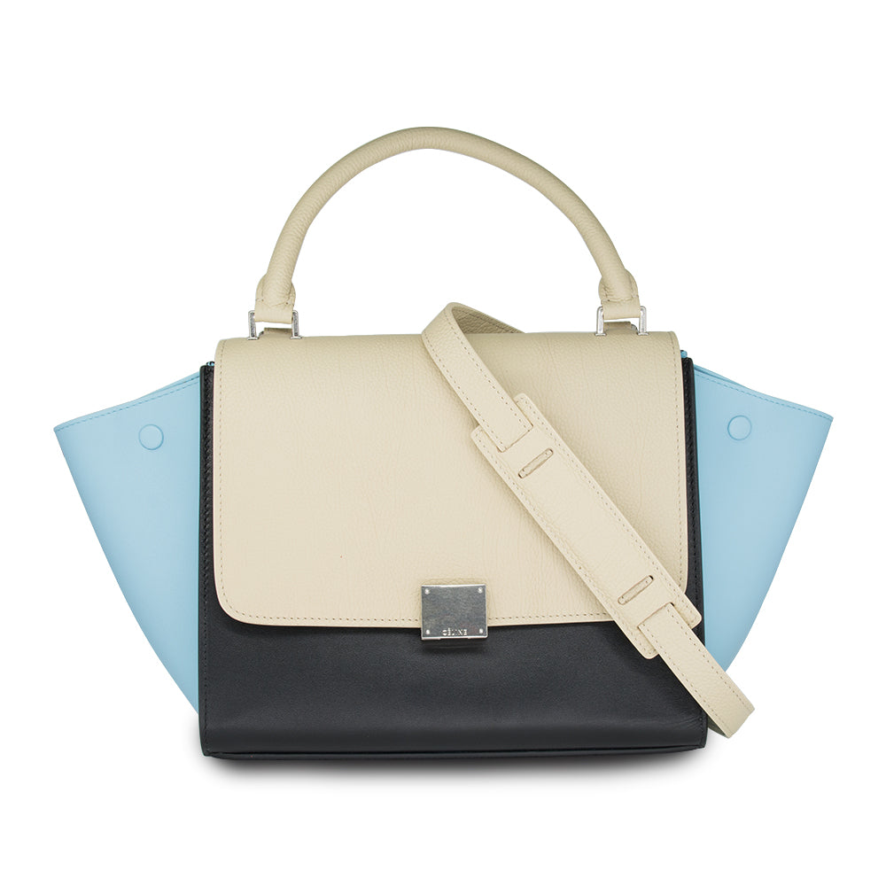 Céline Tricolor Medium Trapeze Leather Shoulder Bag In Beige & Black /Light Blue