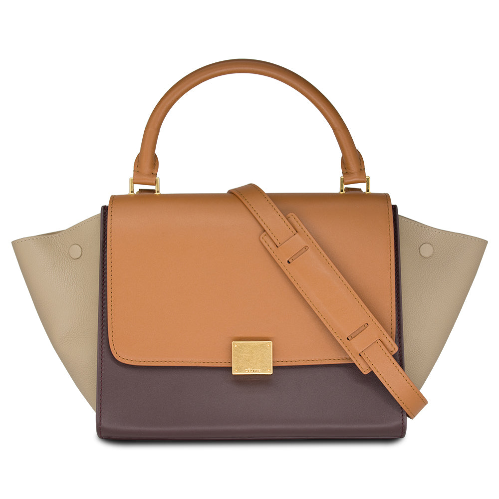 Céline Tricolor Medium Trapeze Leather Shoulder Bag In Caramel & Brown /Beige