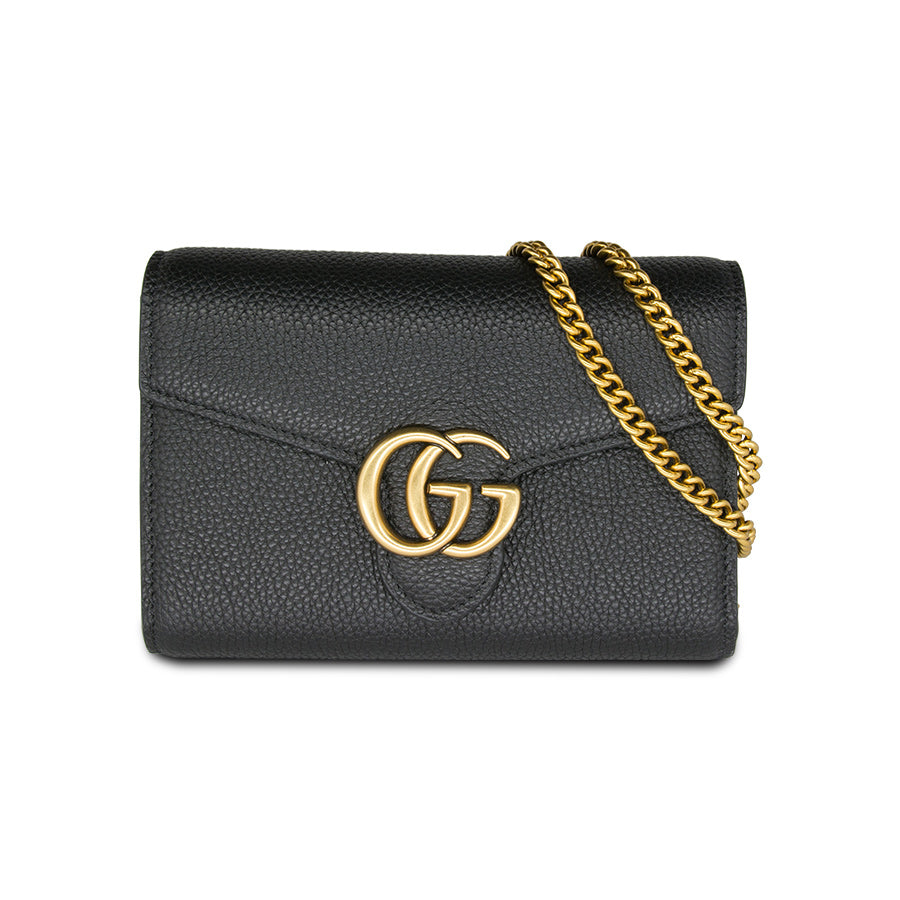 487b87b9eaf6 Gucci GG Marmont Leather Mini Chain Bag Black – BRANDS N BAGS