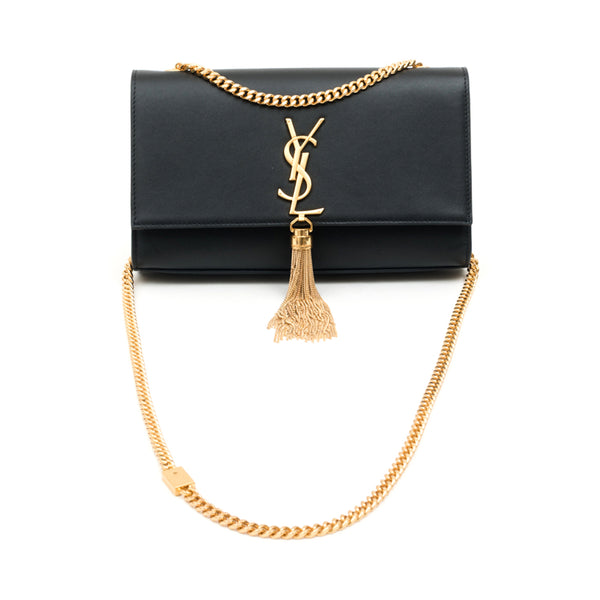 Saint Laurent Medium Kate Tassel Shoulder Bag Black with Gold