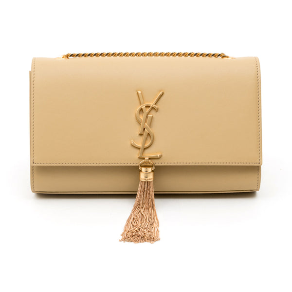 Saint Laurent Mediun Kate Tassel Shoulder Bag Camel with Gold