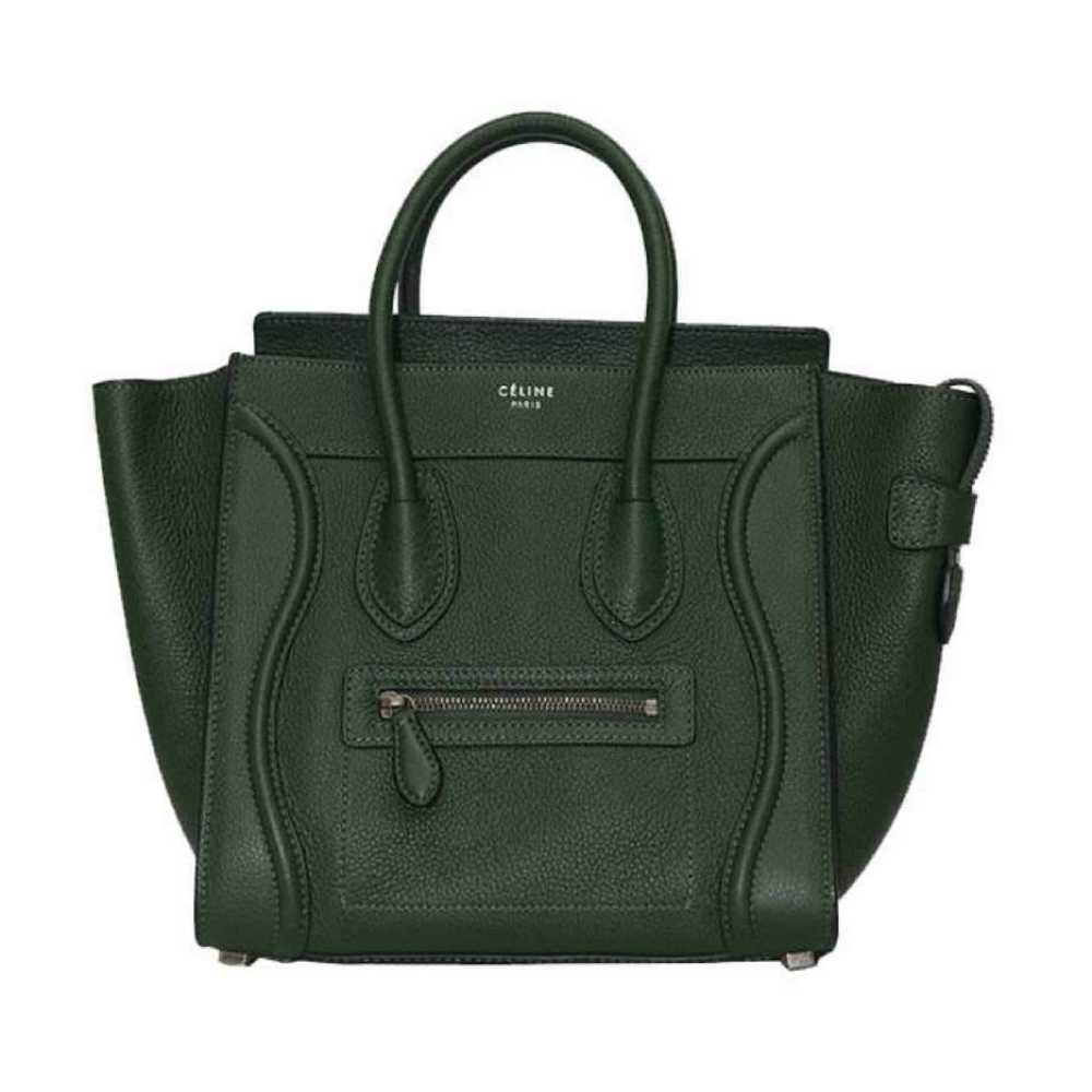 Céline Micro Luggage Smooth Calf Leather Olive Tote Bag