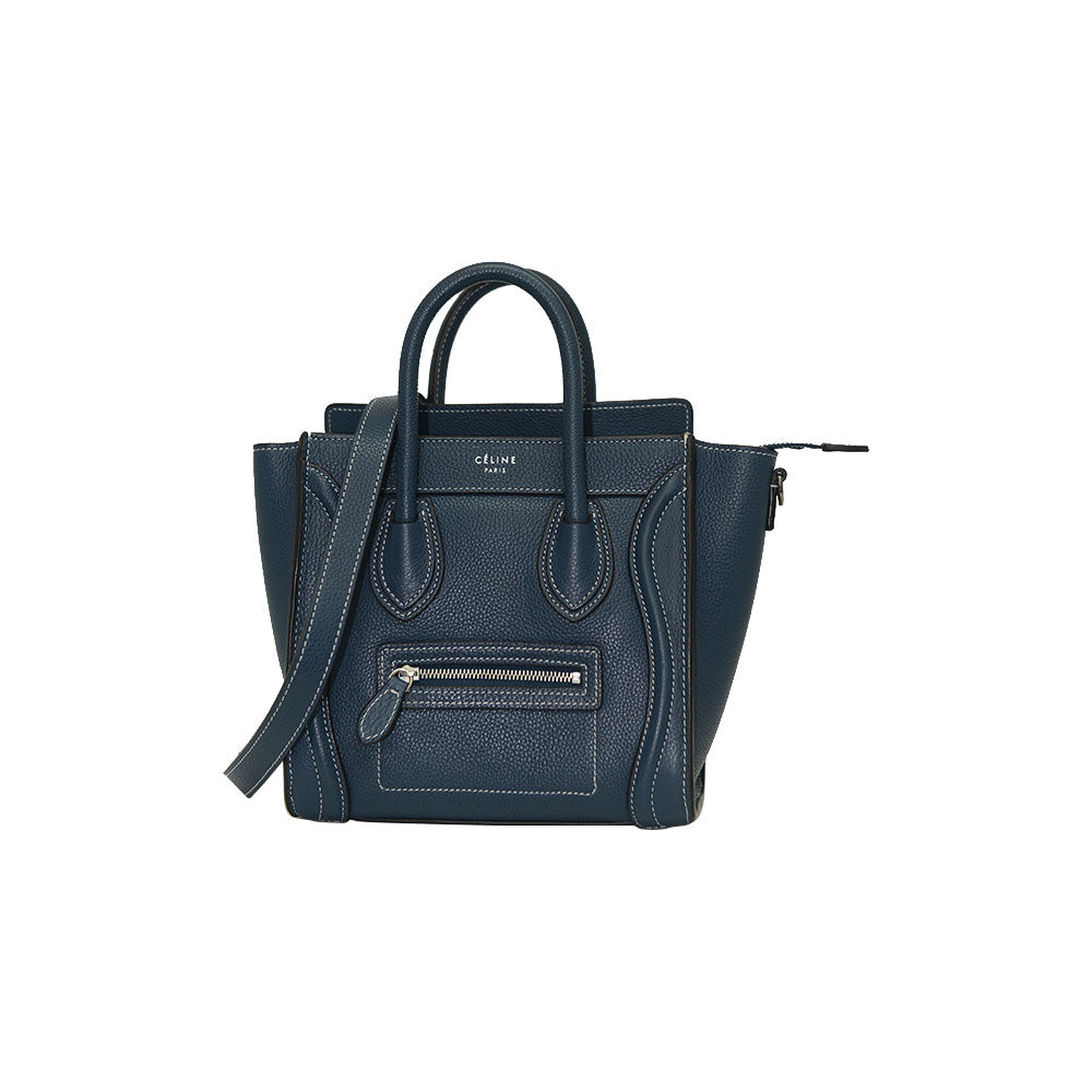 Céline NANO Luggage Blue Gray In Pebble Calf Leather Tote Bag