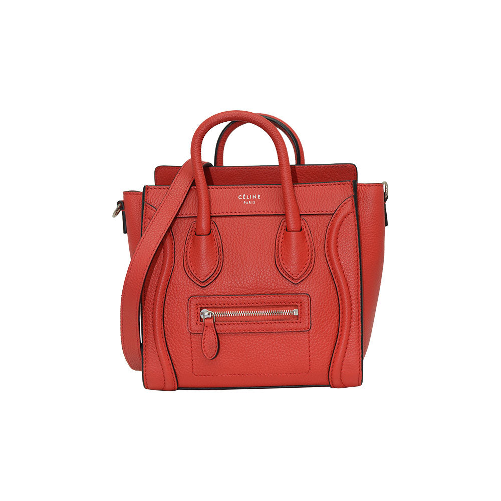 Céline NANO Luggage Red Lipstick/Black Trim In Pebble Calf Leather Tote Bag