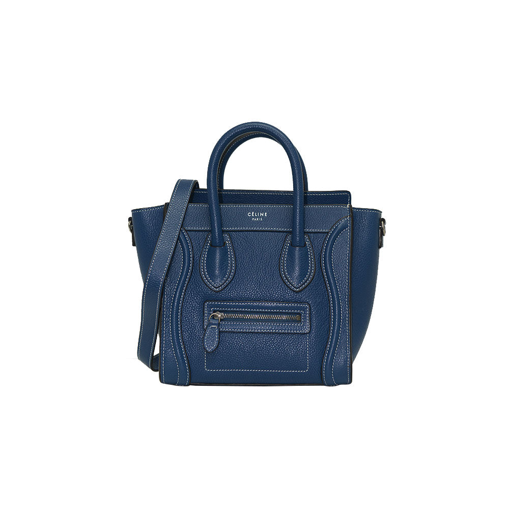 Céline NANO Luggage Blue/ Black Trim In Pebble Calf Leather Tote Bag