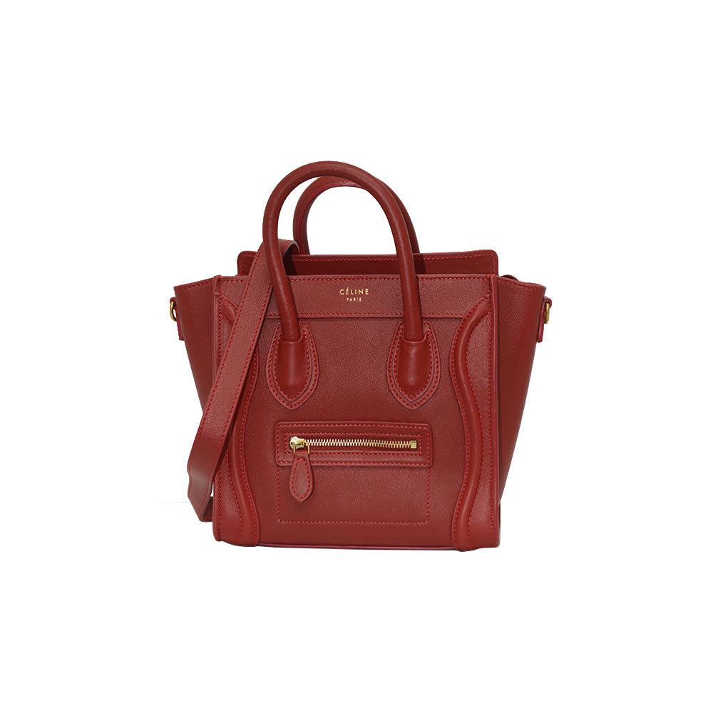 Céline NANO Luggage Red In smooth Calf Leather  Tote Bag