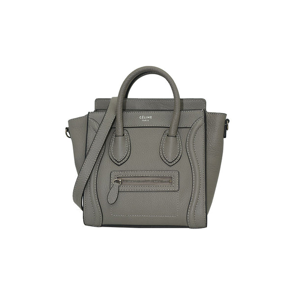 Céline NANO Luggage Gray/ Black Trim In Pebble Calf Leather Tote Bag