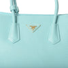 Prada Large Vitello Daino Double Handle Tote Handbag BN2756 Light Blue (LAGO)