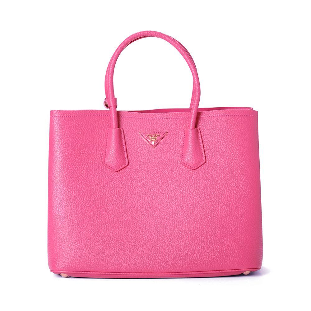 Prada Large Vitello Daino Double Handle Tote Handbag BN2756 Dark Fushia (PEONIA)