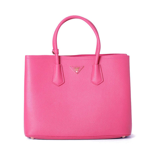 6f34b2af2425 Prada Large Vitello Daino Double Handle Tote Handbag BN2756 Dark Fushia  (PEONIA)