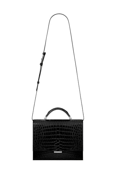 Saint Laurent Croc Embossed Babylone Shoulder Bag/Black