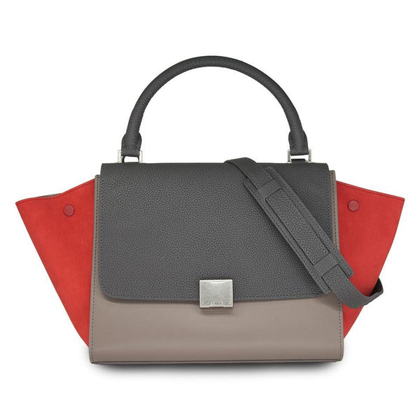 Céline Tricolor Medium Trapeze Leather Shoulder Bag In Gray & Light Gray/Red Suede