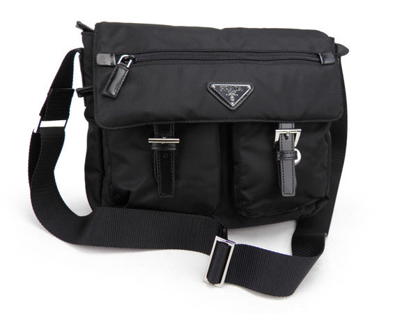 Prada Vela Nylon Messenger Bag BT6671 Black (Nero)