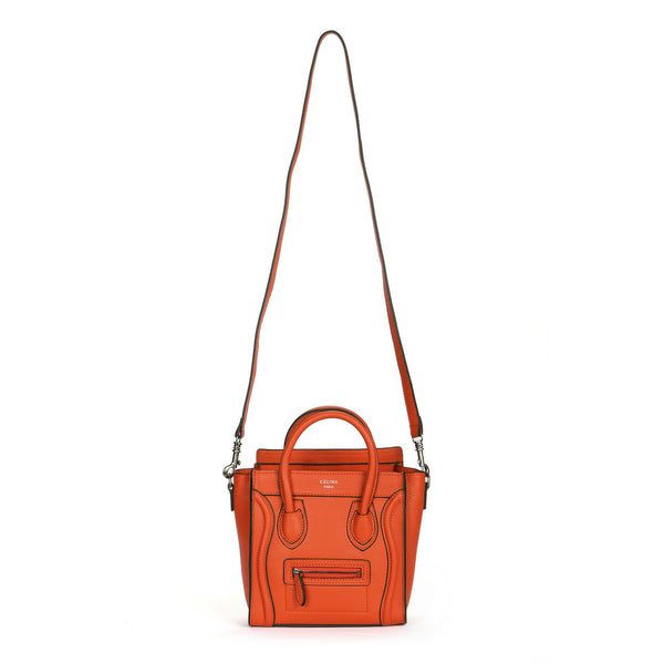 Céline Orange/Black Trim Pebble Leather NANO Luggage Tote Bag
