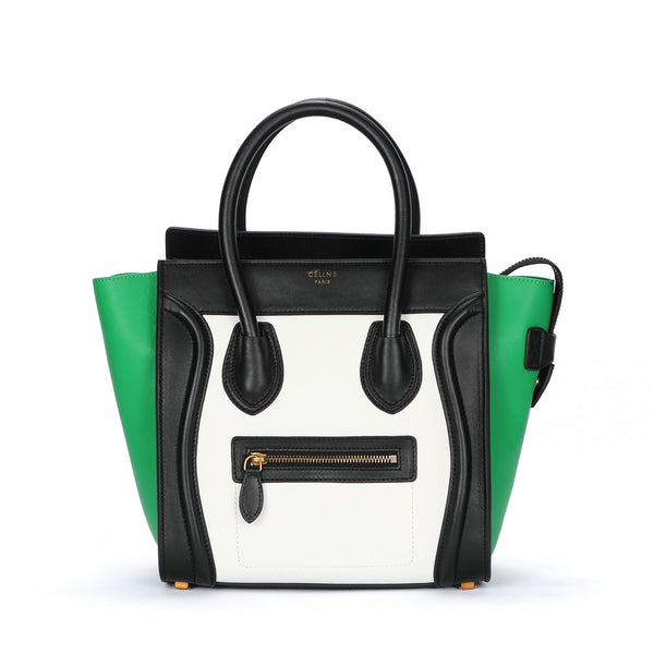 Céline Micro Tricolor Black / White & Green Tote Bag