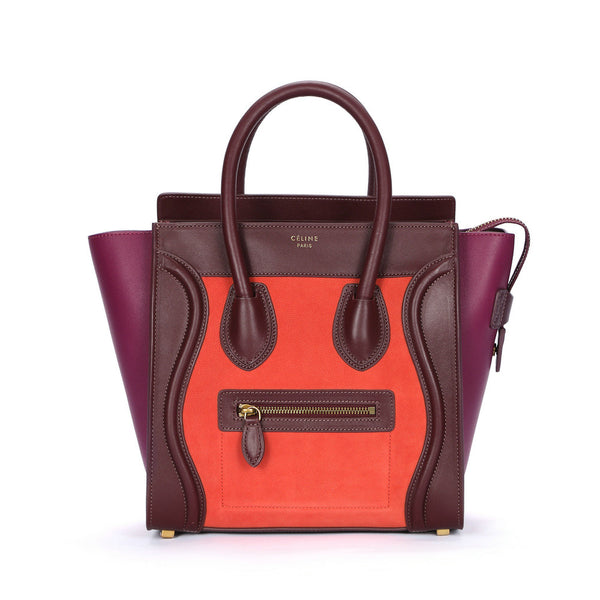 Céline Micro Tricolor Bright Luggage / Orange & Fuchsia Tote Bag
