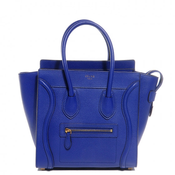 Céline Micro Luggage Pebble Calf Leather Blue/Black Trim Tote Bag