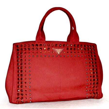 Prada Large Denim Canvas with Crystal Canapa Tote Bag BN1872 Red (Rosso)