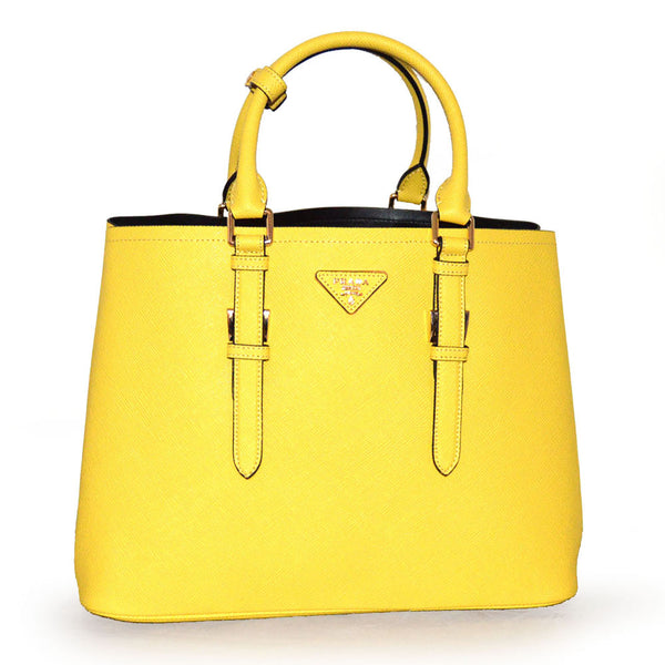 Prada Large Saffiano Cuir Double Handbag BN2820 Yellow (Mimosa)