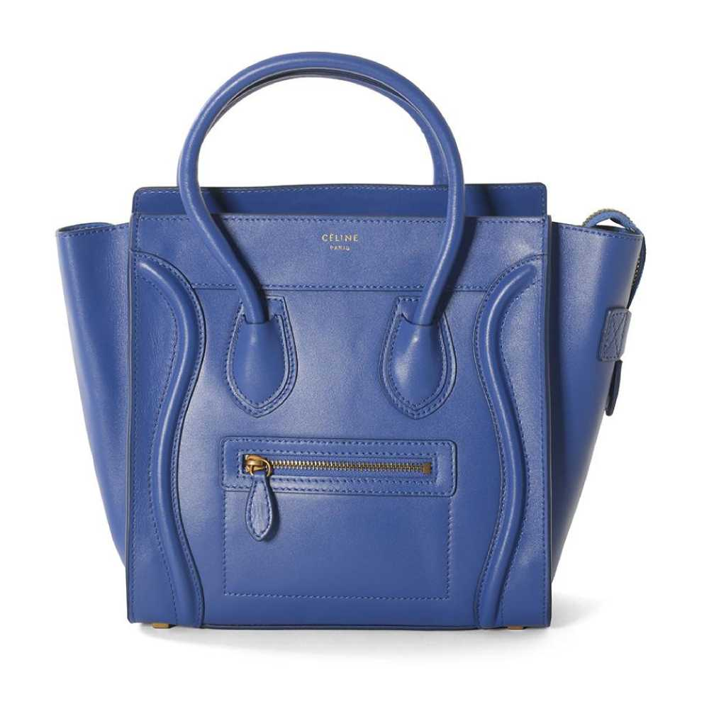 Celine Micro Luggage Smooth Calf Leather Blue Tote Bag