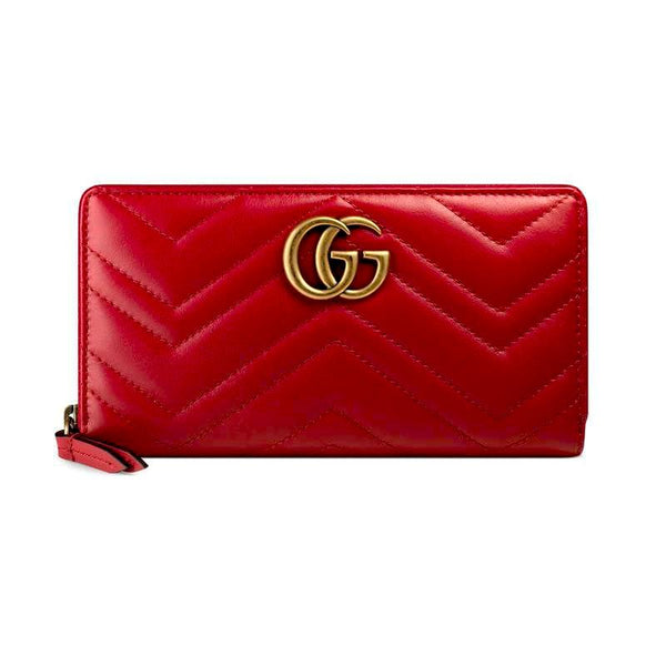 Gucci GG Marmont zip around wallet RED