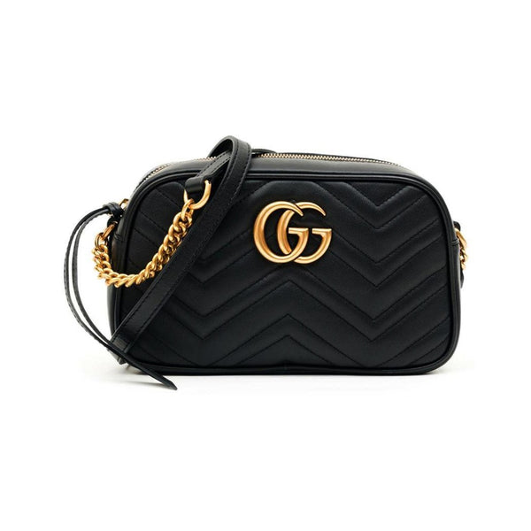 Gucci GG Marmont Small Quilted Camera Bag Black