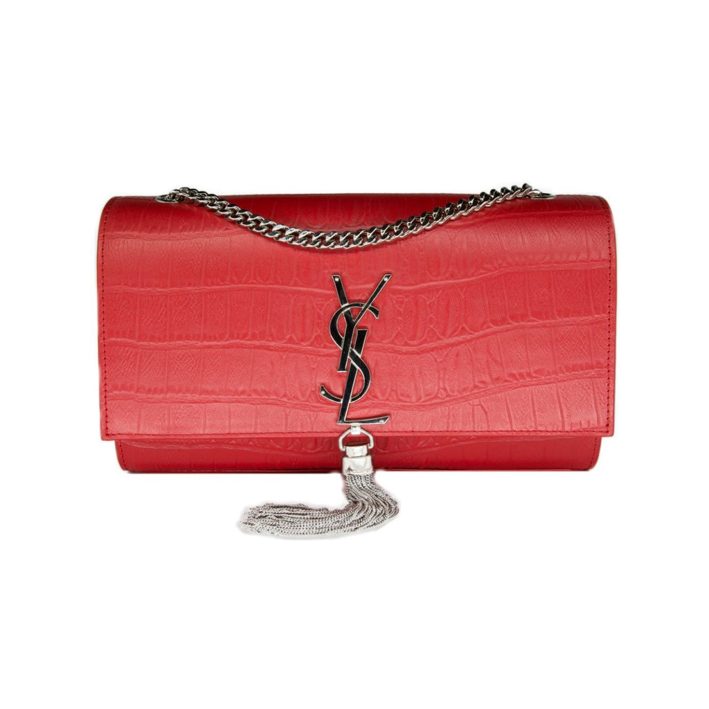 Saint Laurent Croc Embossed Kate Convertible Shoulder Bag- RED