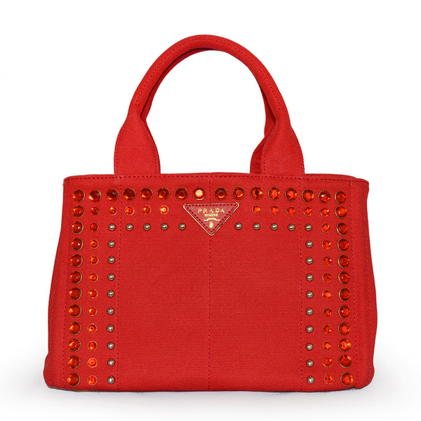 Prada Medium Denim Canvas with Crystal Canapa Tote Bag BN1877 Red (Rosso)