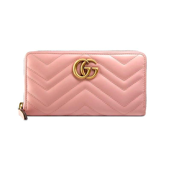 Gucci GG Marmont zip around wallet Pink