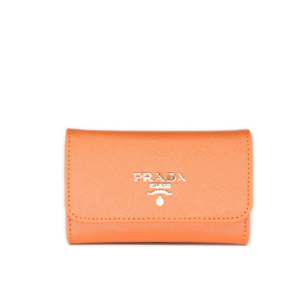Prada Saffiano Leather Keyholder 1M0222 Orange(PAPAYA)