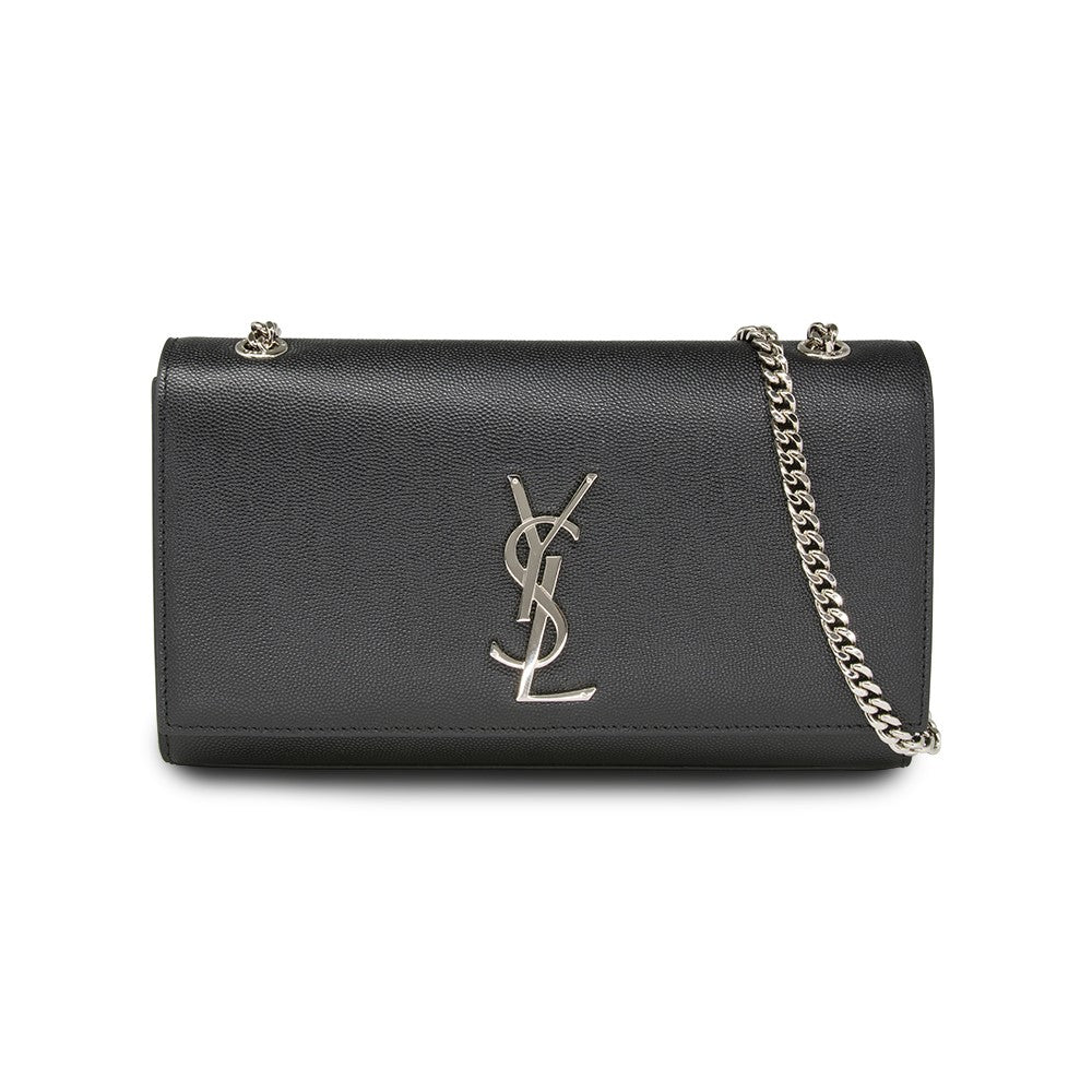 Saint Laurent Mediun Kate Shoulder Bag Grain Du Poudre Leather Black with Silver