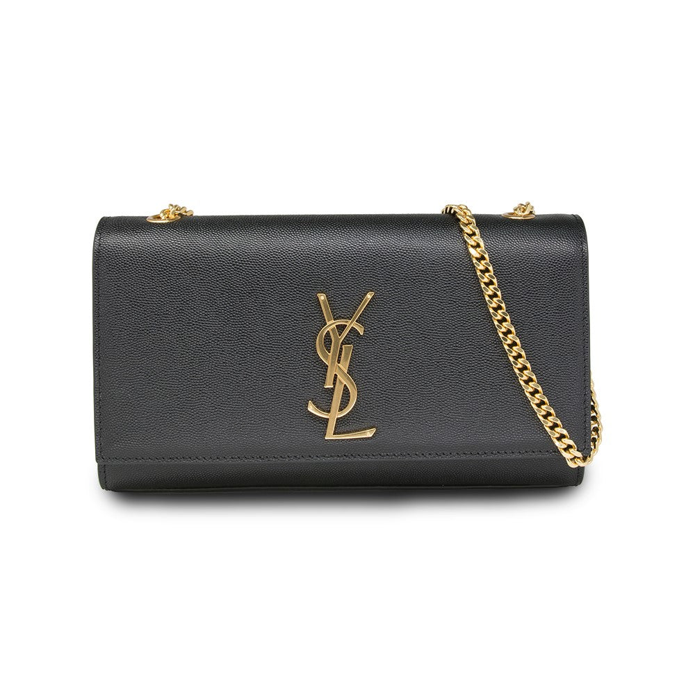 Saint Laurent Mediun Kate Shoulder Bag Grain Du Poudre Leather Black with Gold