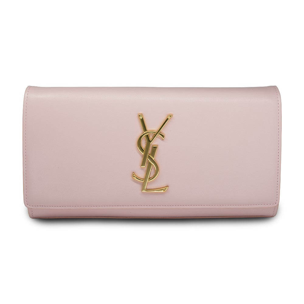 SAINT LAURENT CLASSIC MONOGRAM CLUTCH IN PINK LEATHER