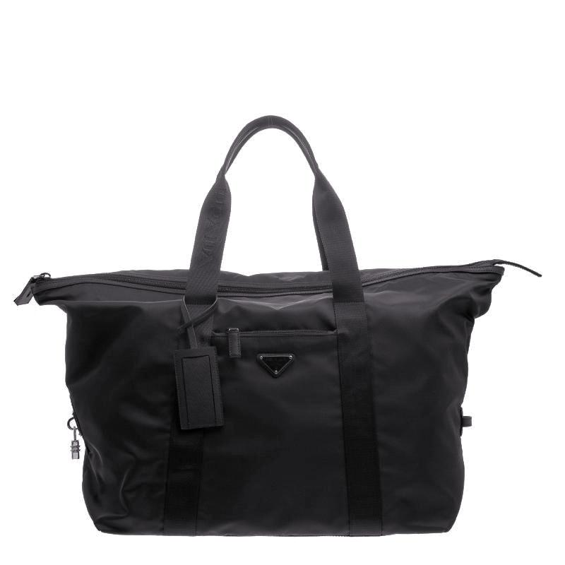Prada Large Vela Nylon Duffle Bag VA0933 Black