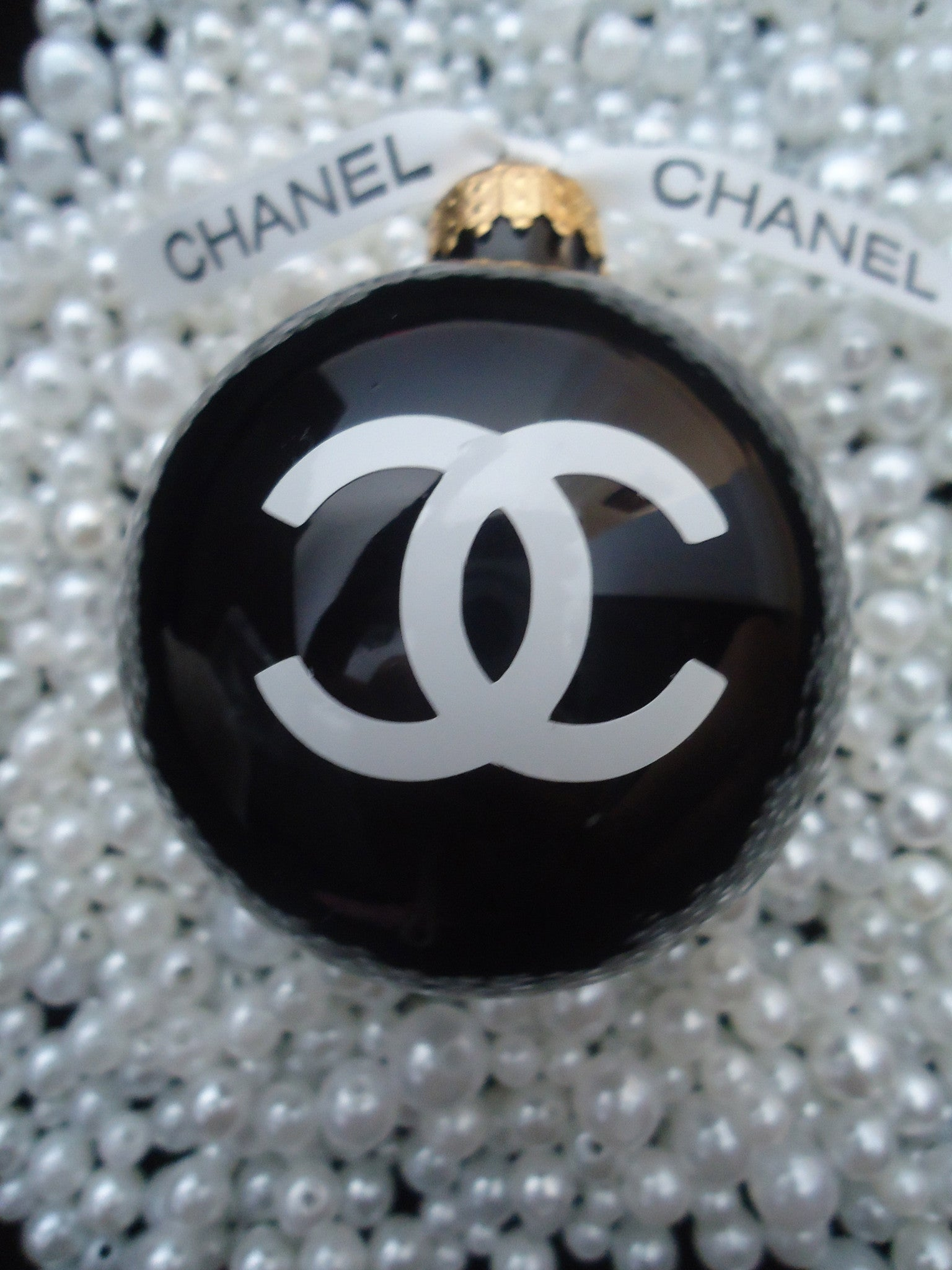 Chanel Christmas Ornaments.Chanel Inspired Shiny Black Glass Christmas Tree Ornament Large 3 Classy Gift