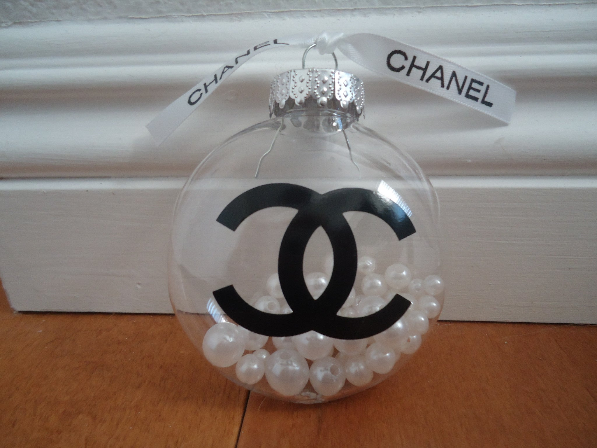 Chanel Christmas Ornaments.Chanel Inspired Clear Christmas Tree Ornament With Pearls
